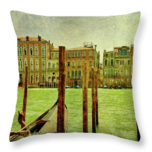Grunge Throw Pillow featuring the digital art Vintage Grand Canal Panorama by Luisa Vallon Fumi