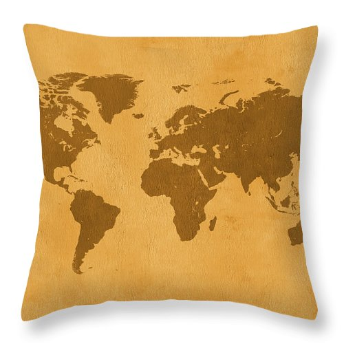 Material Throw Pillow featuring the photograph Vintage Map Of The World In Brown by Yorkfoto