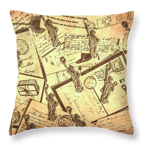 Postcard Throw Pillow featuring the photograph Vintage New York Post by Jorgo Photography - Wall Art Gallery