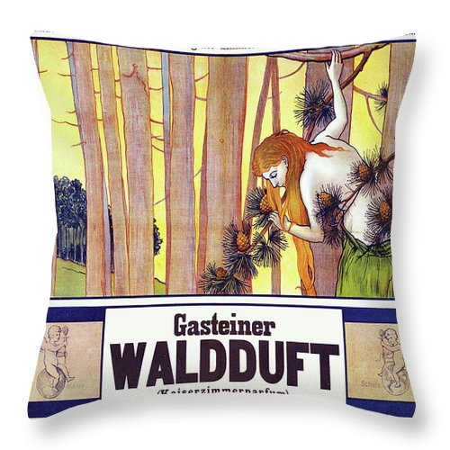 Vintage Poster Throw Pillow featuring the painting Vintage Poster - Gasteiner Waldduft by Vintage Images