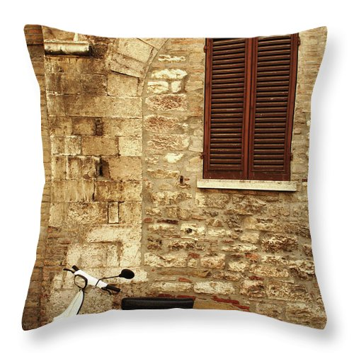1950-1959 Throw Pillow featuring the photograph Vintage Scene Of A Stone Wall, Wooden by Anzeletti