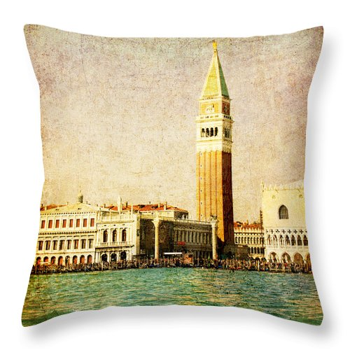 Antique Throw Pillow featuring the digital art Vintage Venice, S.marco Square From The Sea by Luisa Vallon Fumi
