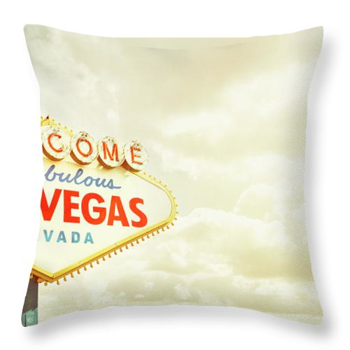 Panoramic Throw Pillow featuring the photograph Vintage Welcome To Fabulous Las Vegas by Powerofforever