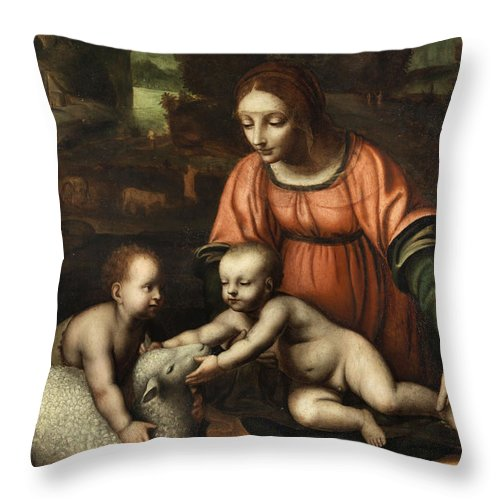Virgin And Child Throw Pillow featuring the painting Virgin And Child by Bernardino Luini