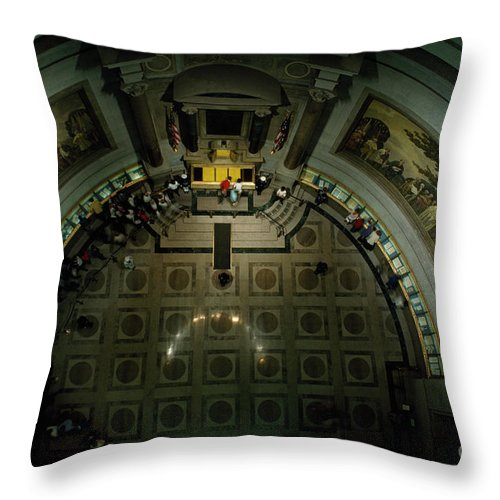 Documents Throw Pillow featuring the photograph Visitors Tour Historic American Documents At The National Archives. by Sam Abell