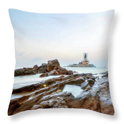 Statue Throw Pillow featuring the photograph Vivekanandar Rock & Thiruvalluvar by Yesmk Photography