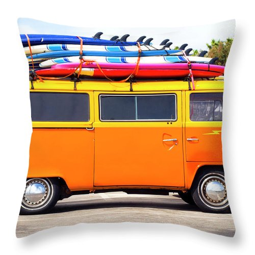 Youth Culture Throw Pillow featuring the photograph Volkswagen Bus With Surf Boards by Pete Starman