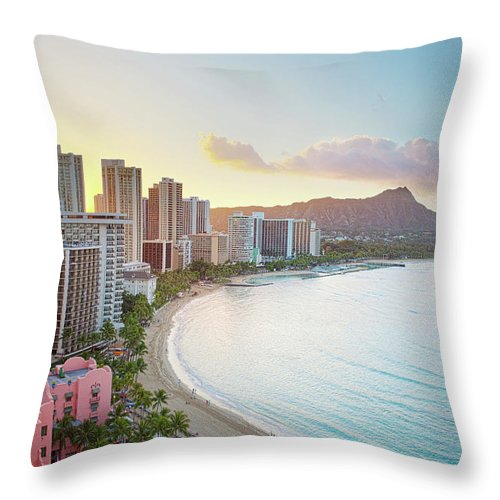 Scenics Throw Pillow featuring the photograph Waikiki Beach At Sunrise by M Swiet Productions