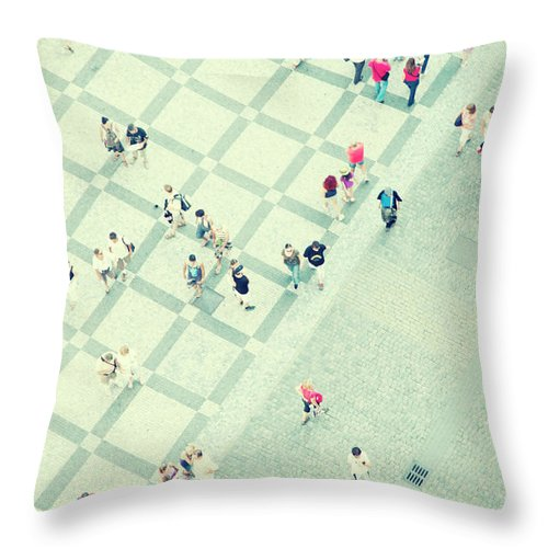 Pedestrian Throw Pillow featuring the photograph Walking People by Carlo A
