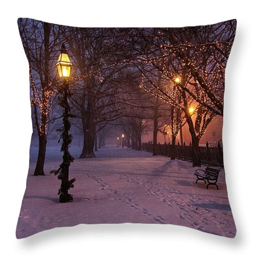 Salem Common Throw Pillow featuring the digital art Walking The Path On Salem Ma Common by Jeff Folger