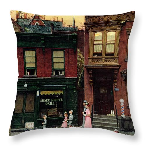 Churches Throw Pillow featuring the drawing Walking To Church by Norman Rockwell