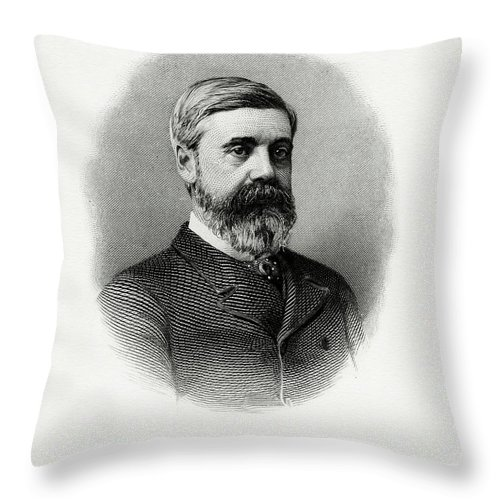 Walter Q. Gresham Throw Pillow featuring the painting Walter Q. Gresham by The Bureau of Engraving and Printing