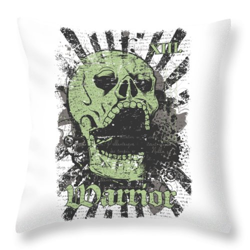 Skull Throw Pillow featuring the digital art Warrior Skull And Black Rays by Passion Loft