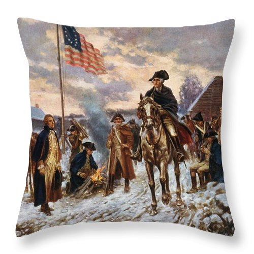 George Washington Throw Pillow featuring the painting Washington at Valley Forge by War Is Hell Store