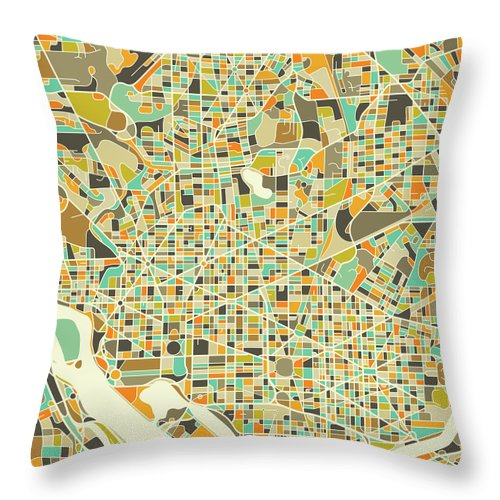 Washington Map Throw Pillow featuring the digital art Washington Dc Map 1 by Jazzberry Blue