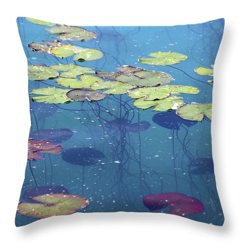Shadow Throw Pillow featuring the photograph Water Lillies Leaves by Suzyco