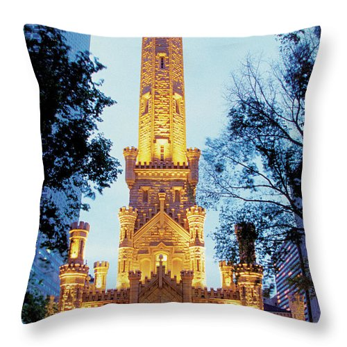 Travel16 Throw Pillow featuring the photograph Water Tower At Night In Chicago by Medioimages/photodisc