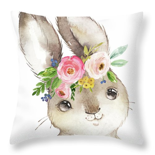 Bunny Throw Pillow featuring the digital art Watercolor Boho Bunny Rabbit Art Print by Pink Forest Cafe