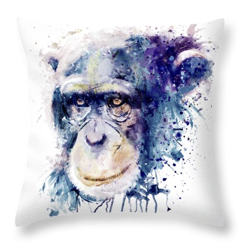 Chimpanzee Throw Pillow featuring the painting Watercolor Chimpanzee by Marian Voicu