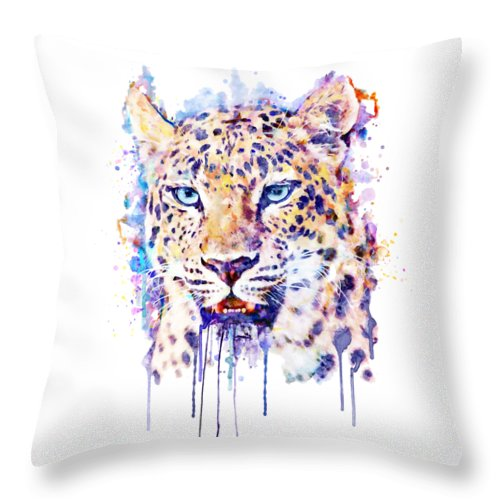 Watercolor Leopard Throw Pillow featuring the painting Watercolor Leopard Head by Marian Voicu