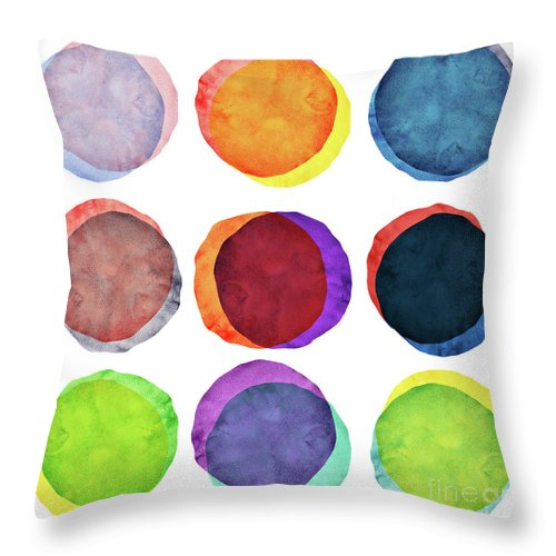 Watercolor Painting Throw Pillow featuring the photograph Watercolor Painted Circles Various by Momentousphotovideo