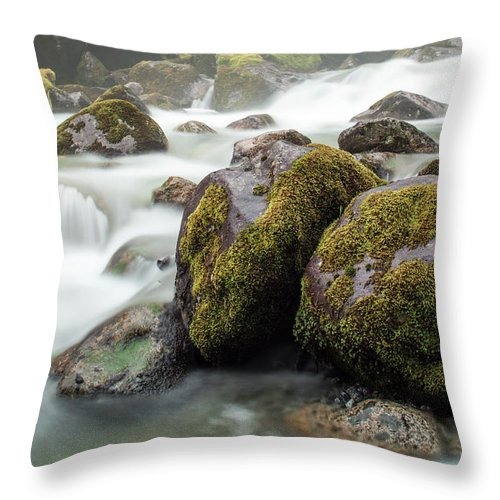 Tranquility Throw Pillow featuring the photograph Waterfall, Bc, Canada by Paul Souders