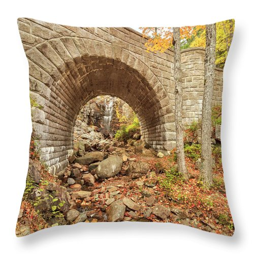 Scenics Throw Pillow featuring the photograph Waterfall Bridge, Autumn, Acadia by Picturelake
