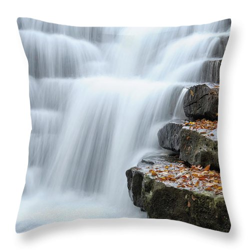 Steps Throw Pillow featuring the photograph Waterfall Flowing Over Rock Stair by Catnap72