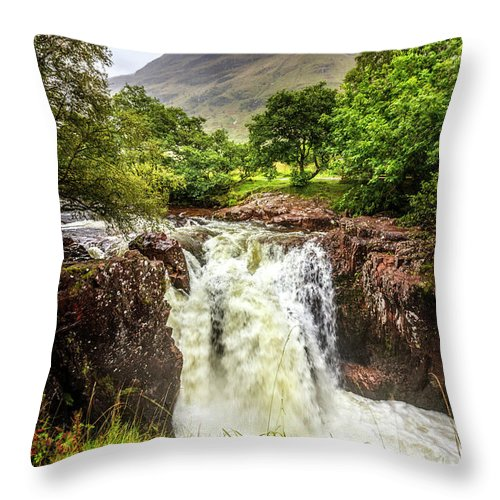 Clouds Throw Pillow featuring the photograph Waterfall Under The Mountain by Debra and Dave Vanderlaan