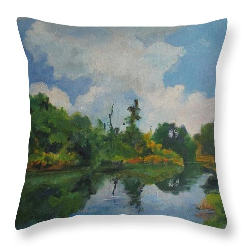 Barbara Moak Throw Pillow featuring the painting Waterway At Millennium Garden by Barbara Moak