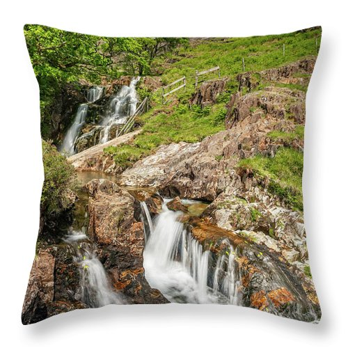Watkin Path Throw Pillow featuring the photograph Watkin Path Waterfall Wales by Adrian Evans