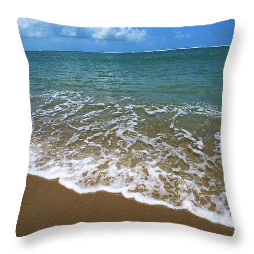 Water's Edge Throw Pillow featuring the photograph Waves Washing Onto White Sandy Beach by Luis Veiga