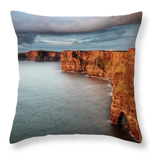 Scenics Throw Pillow featuring the photograph Waves Washing Up On Rocky Cliffs by George Karbus Photography