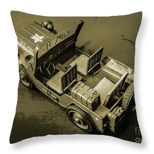 Vintage Throw Pillow featuring the photograph Weathered Defender by Jorgo Photography - Wall Art Gallery
