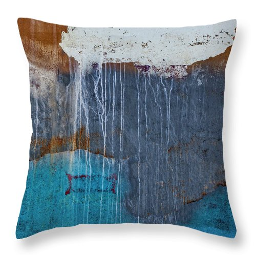 Boat Bits Throw Pillow featuring the photograph Weathered Paint Detail by Carol Leigh