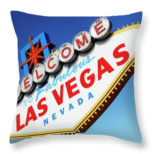 Risk Throw Pillow featuring the photograph Welcome To Las Vegas Sign, Low Angle by Steven Puetzer