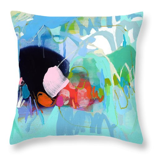 Abstract Throw Pillow featuring the painting West Coast Wanderlust by Claire Desjardins