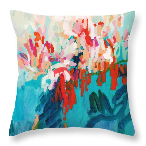 Abstract Throw Pillow featuring the painting What Are Those Birds Saying? by Claire Desjardins