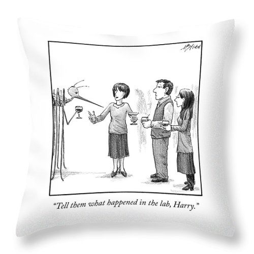Cctk Throw Pillow featuring the drawing What Happened In The Lab by Harry Bliss