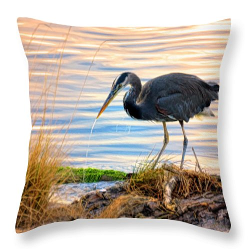Wheeler Throw Pillow featuring the photograph Wheeler Oregon - Great Blue Heron by Image Takers Photography LLC - Laura Morgan