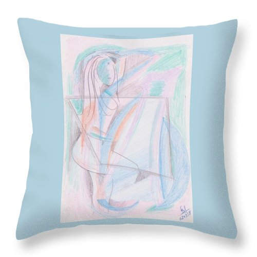 Pencil Color On Paper Throw Pillow featuring the drawing When I Was Teenage by Mustafa Attari