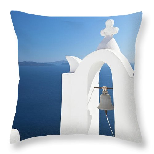 Greek Culture Throw Pillow featuring the photograph White Bell Tower And Blue Sea by Michaelutech