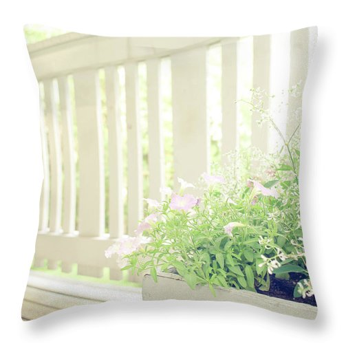 Outdoors Throw Pillow featuring the photograph White Fence And Flowers by Photographer Mikael Nyberg