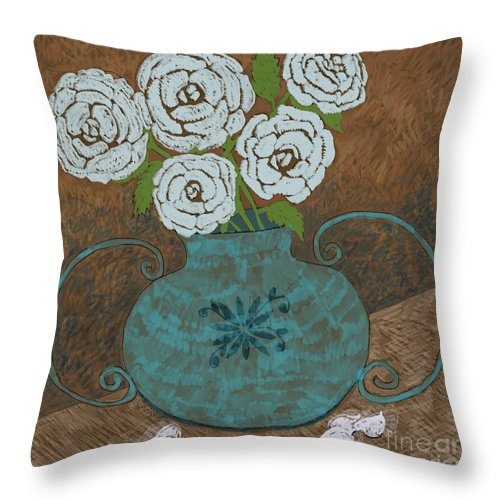 Roses Throw Pillow featuring the painting White Roses In Teal Vase by Caroline Street