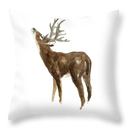 White Tailed Deer Throw Pillow featuring the painting White Tailed Deer Stag With Head Tilted Upwards by Joanna Szmerdt