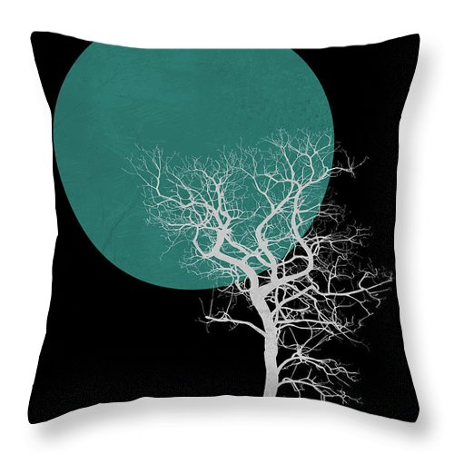 Tree Throw Pillow featuring the mixed media White Tree And Big Moon by Naxart Studio