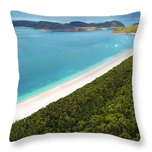 Sailboat Throw Pillow featuring the photograph Whitehaven Beach by Kieran Stone
