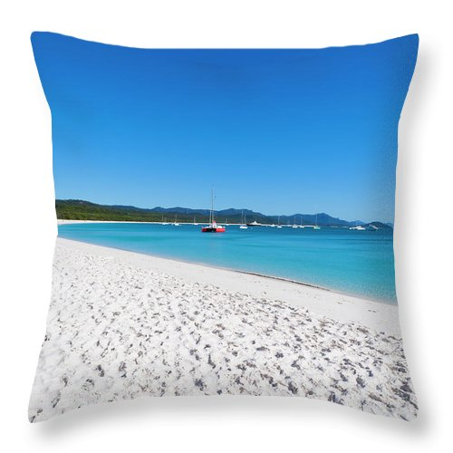 Clear Sky Throw Pillow featuring the photograph Whitehaven Beach On Whitsunday Island by Holgs