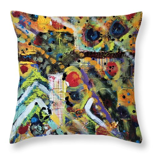 Nature Throw Pillow featuring the painting Who What Where by Pam Roth O'Mara