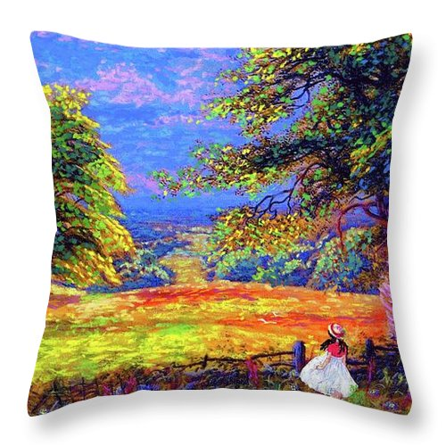 Wildflower Throw Pillow featuring the painting Flower Fields by Jane Small
